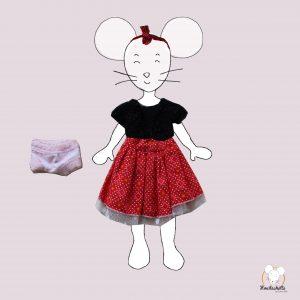 Tenue complète pour MiniMoustachette : robe rouge