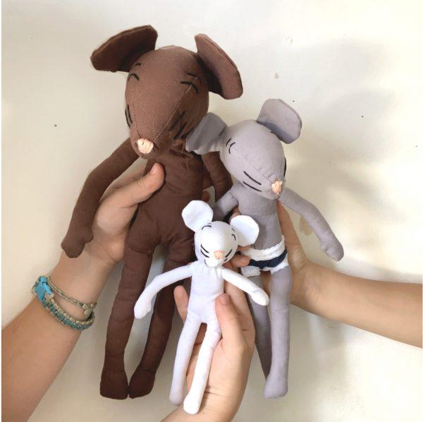 Trio de Moustachettes, doudou souris pour enfant fait main 3 coloris 3 tailles