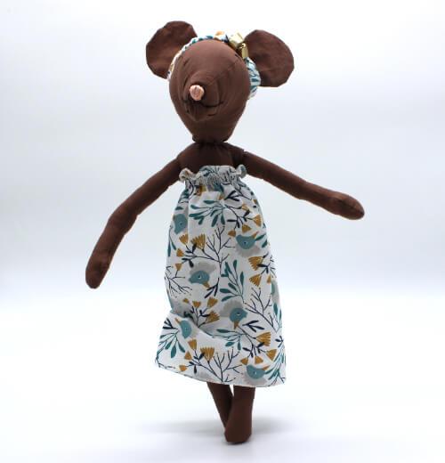 moustachette grainedaby poupée souris doudou fait main robe