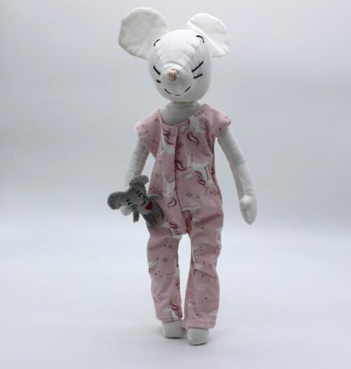 moustachette grainedaby poupée souris doudou fait main pyjama licornes
