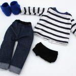 grainedaby moustachette dressing jeans mariniere poupée fait main doudou