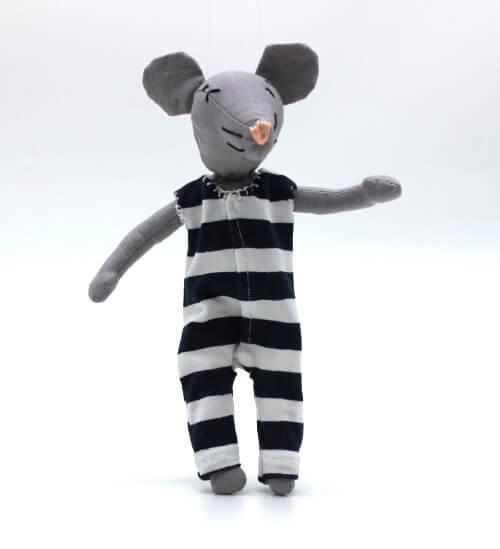 moustachette grainedaby poupée souris doudou fait main pyjama rayures marines